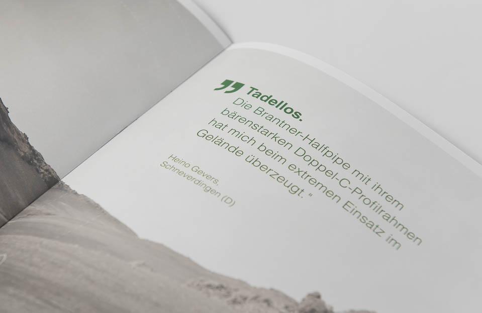Kundenstatement in der neuen HB Brantner Halfpipe Broschüre